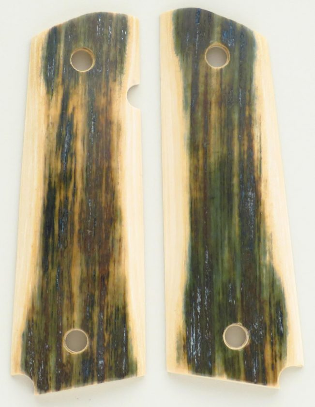 Mammoth ivory grips for full-size 1911, blue with light borders